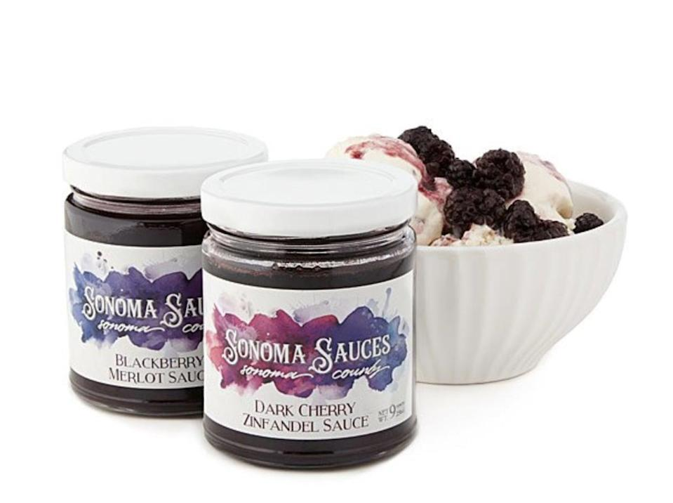 <p>These delicious-looking <span>Wine-Infused Dessert Sauces</span> are made of spices, whole fruits, and zinfandel or merlot.($17)</p>