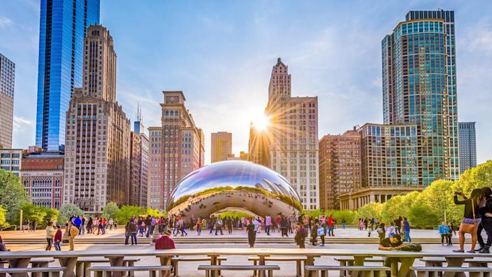 Chicago Illinois at sunset with Cloud Gate bean art work