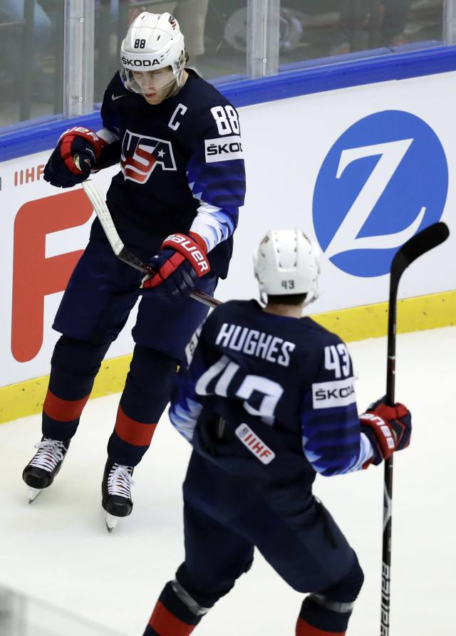 Ice Hockey - 2018 IIHF World Championships - Quarterfinals - USA v Czech Republic - Jyske Bank Boxen - Herning, Denmark - May 17, 2018 - Patrick Kane of the U.S. celebrates with teammates after scoring. REUTERS/David W Cerny