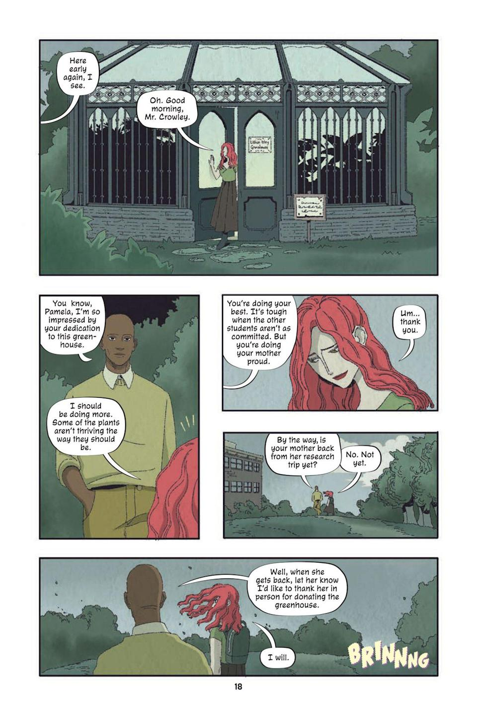 A page from Poison Ivy Thorns shows Ivy in the school garden talking with a male teacher