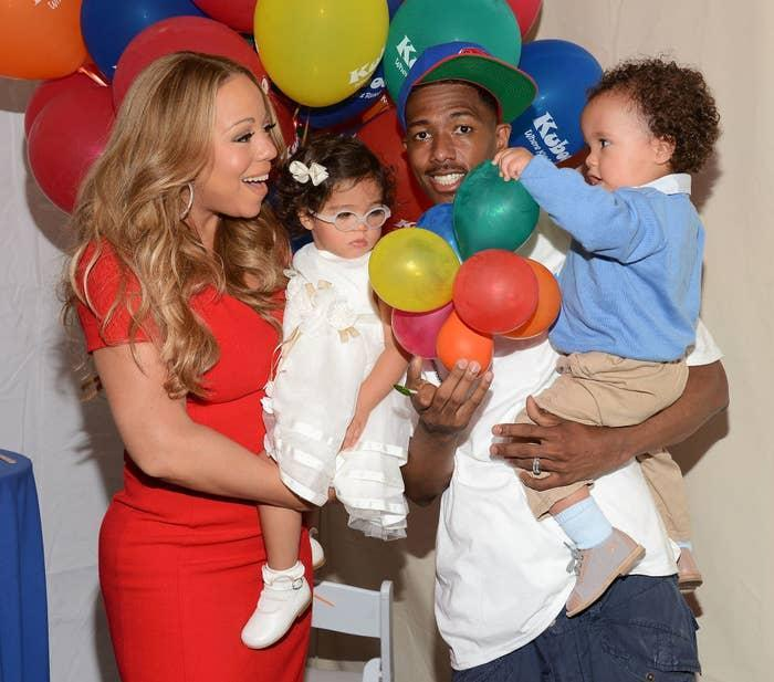 Nick with Mariah Carey and their two children