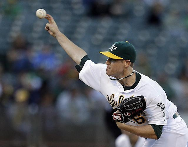 Oakland Athletics' Dan Straily works against the Los Angeles Angels in the first inning of a baseball game on Thursday, July 25, 2013, in Oakland, Calif. (AP Photo/Ben Margot)