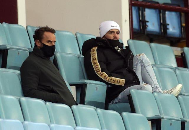 England manager Gareth Southgate, left, and Grealish spoke and sat in the stands together during Villa's clash with Manchester City