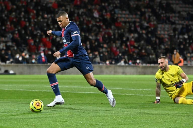 Kylian Mbappe scored his third and fourth Ligue 1 goals of the season in the win over Nimes