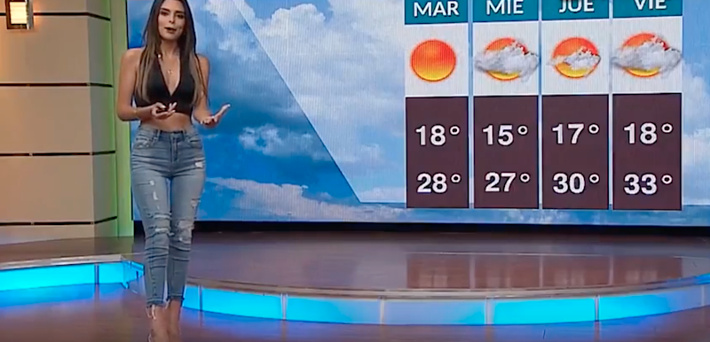 A stunning weather presenter has sent the internet into a spin, raising temperatures while she's at it. Source: Youtube