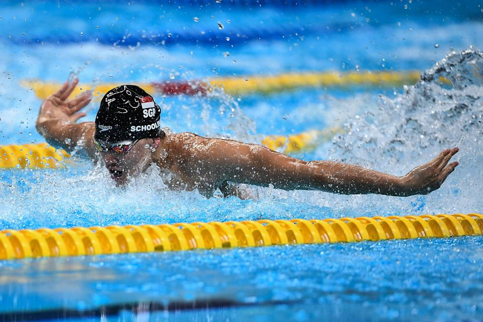 JAKARTA, INDONESIA - AUGUST 23:  Joseph Isaac Schooling of Singapore swims during Men's 50m Butterfly final match on day five of the Asian Games on August 23, 2018 in Jakarta, Indonesia.  (Photo by Robertus Pudyanto/Getty Images)