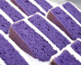 This undated photo provided by Rose Ave Bakery shows the Washington, D.C. bakery's ube cake. From ube cakes to mochi muffins, bakeries that sweetly encapsulate growing up Asian and American have been popping up more in recent years. (Courtesy of Rose Ave Bakery)