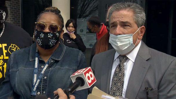 PHOTO: Crystal Caldwell speaks alongside her lawyer outside the New London Superior Courthouse, April 28, 2021, in New London, Connecticut. (WTNH)