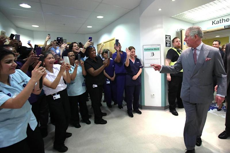 Welcome: Staff at King's College Hospital greet the Prince. (Getty Images)