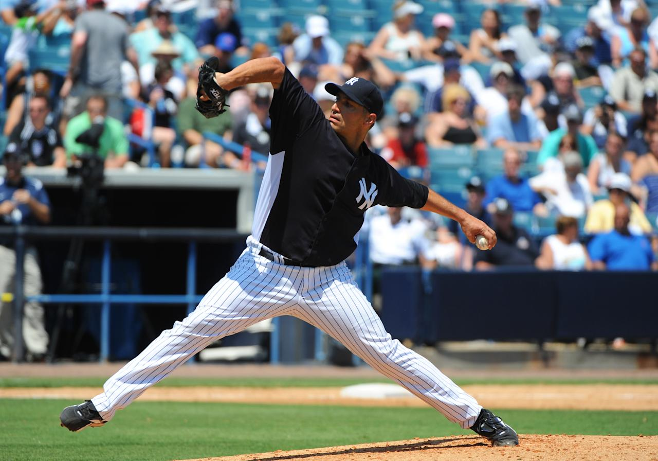 TAMPA, FL - APRIL 4: Pitcher Andy Pettitte #46 of the New York Yankees throws against the New York Mets in a spring training game April 4, 2012  at George M. Steinbrenner Field in Tampa, Florida. Pettitte last pitched in 2010. (Photo by Al Messerschmidt/Getty Images)