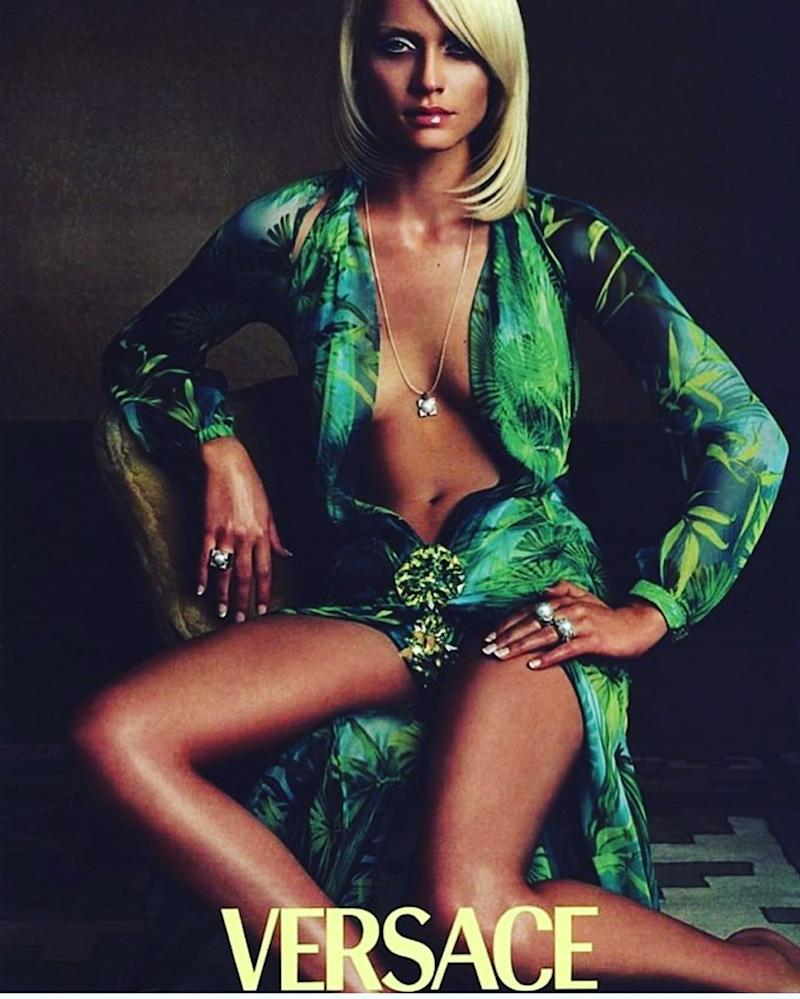 A Versace campaign starring Amber Valletta. Photographed by Steven Meisel, with hair styled by Garren.