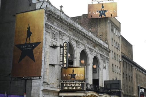 'Hamilton' advertisements hang outside the Richard Rodgers Theatre in June 2019
