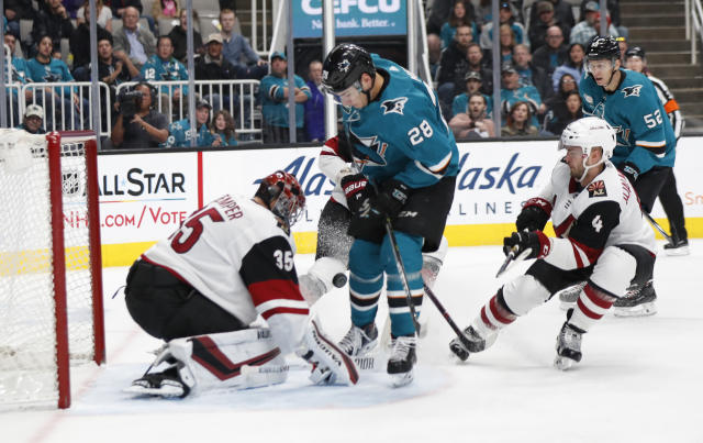 Arizona Coyotes' Darcy Kuemper (35) makes a save against the San Jose Sharks' Timo Meier (28) in the first period of an NHL hockey game in San Jose, Calif., Sunday, Dec. 23, 2018. (AP Photo/Josie Lepe)