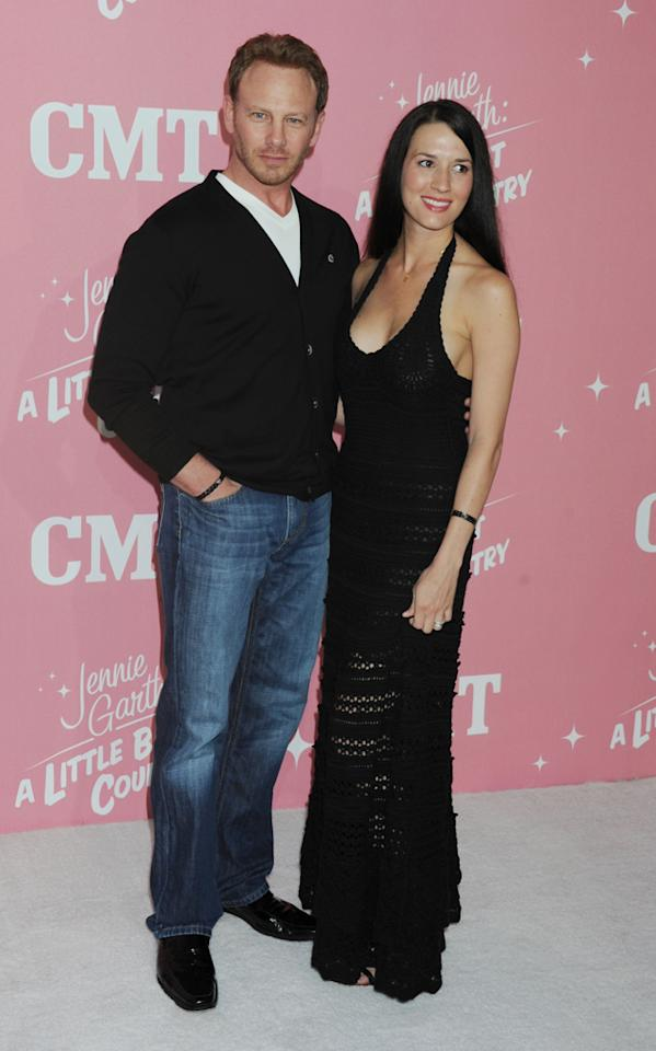 "Ian Ziering and Erin Kristine Ludwig arrive at Jennie Garth's 40th birthday celebration & premiere party for ""<a target=""_blank"" href=""http://tv.yahoo.com/jennie-garth-little-bit-country/show/48388"">Jennie Garth: A Little Bit Country</a>"" held at The London Hotel on April 19, 2012 in West Hollywood, California."