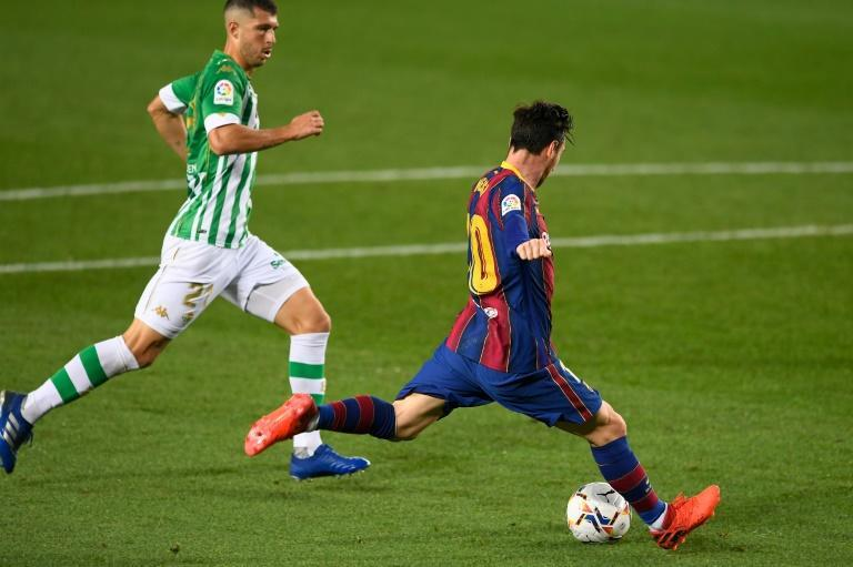 Lionel Messi scoring his first goal of the season from open play against Real Betis on Saturday.