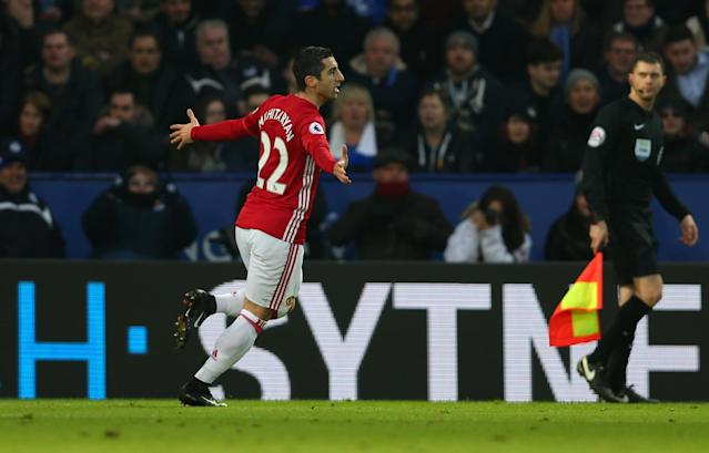 <p>Henrikh Mkhitaryan of Manchester United scores their first goal during the Premier League match between Leicester City and Manchester United at The King Power Stadium on February 5, 2017 in Leicester, England. </p>