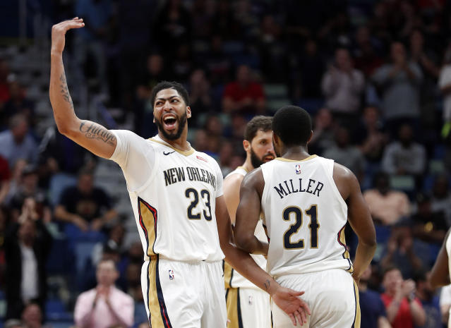 Anthony Davis asks the fans in New Orleans to give him some more, which only seems fair, considering all he's giving the Pelicans these days. (AP)