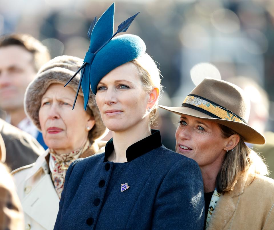 CHELTENHAM, UNITED KINGDOM - MARCH 12: (EMBARGOED FOR PUBLICATION IN UK NEWSPAPERS UNTIL 24 HOURS AFTER CREATE DATE AND TIME) Princess Anne, Princess Royal, Zara Tindall and Dolly Maude attend day 1 'Champion Day' of the Cheltenham Festival at Cheltenham Racecourse on March 12, 2019 in Cheltenham, England. (Photo by Max Mumby/Indigo/Getty Images)