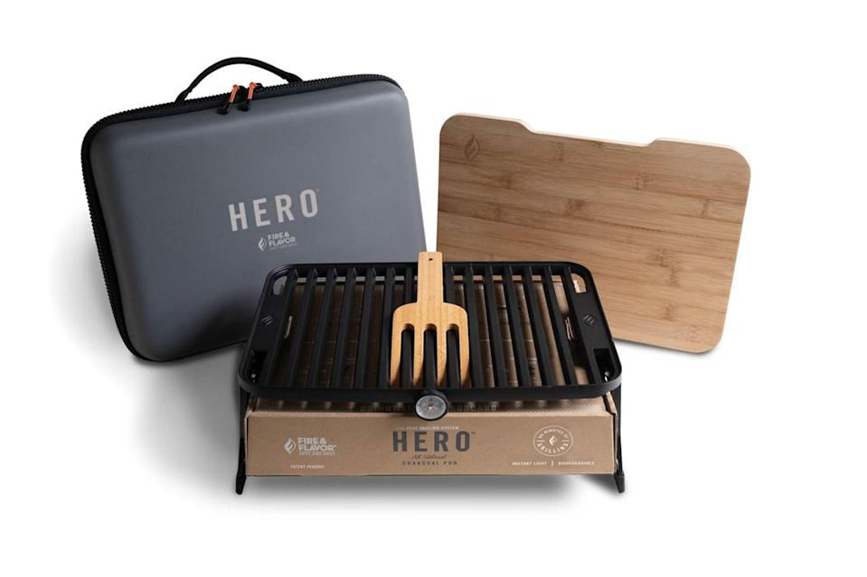 "$100, Huckberry. <a href=""https://huckberry.com/store/fire-flavor/category/p/64852-hero-grill-system-portable-eco-friendly-outdoor-grill-case"" rel=""nofollow noopener"" target=""_blank"" data-ylk=""slk:Get it now!"" class=""link rapid-noclick-resp"">Get it now!</a>"