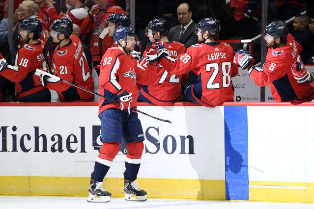 Washington Capitals center Evgeny Kuznetsov (92), of Russia, celebrates his goal during the first period of an NHL hockey game against the Vegas Golden Knights, Saturday, Nov. 9, 2019, in Washington. (AP Photo/Nick Wass)