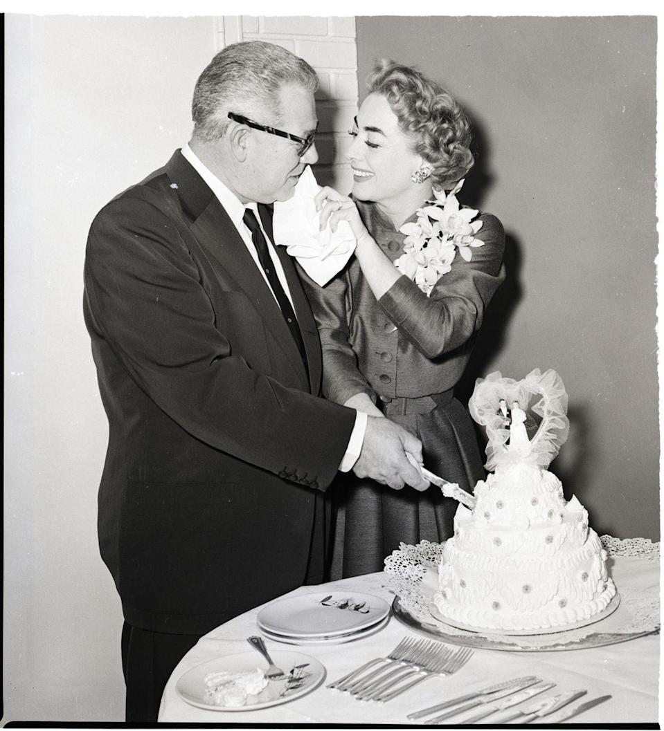 <p>On May 10, Joan Crawford, 47, married her fourth and final husband, Alfred N. Steele, 54, a soft-drink tycoon. He was a deviation for Crawford, whose previous three husbands were actors. Steele and Crawford met at a party in 1950. The couple remained married until Steele died of a heart attack in 1959.</p>