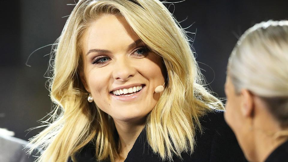 Erin Molan, pictured here before the Women's State of Origin match in 2019.