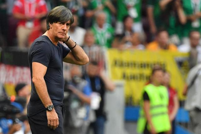 Germany's coach Joachim Loew is under intense pressure after the world champions lost their opening match against Mexico at Russia 2018 (AFP Photo/Yuri CORTEZ)