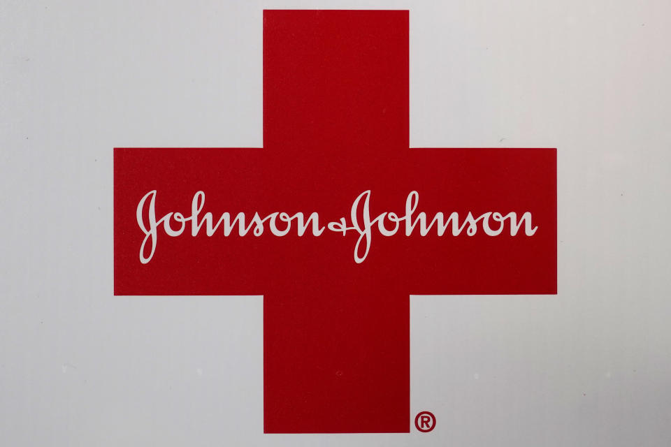 FILE - In this Feb. 24, 2021, file photo, Johnson & Johnson logo appears on the exterior of a first aid kit in Walpole, Mass. A $26 billion settlement between the three biggest U.S. drug distribution companies and drugmaker Johnson & Johnson and thousands of states and municipalities that sued over the toll of the opioid crisis is certainly significant, but it is far from tying a neat bow on the tangle of still unresolved lawsuits surrounding the epidemic. (AP Photo/Steven Senne, File)