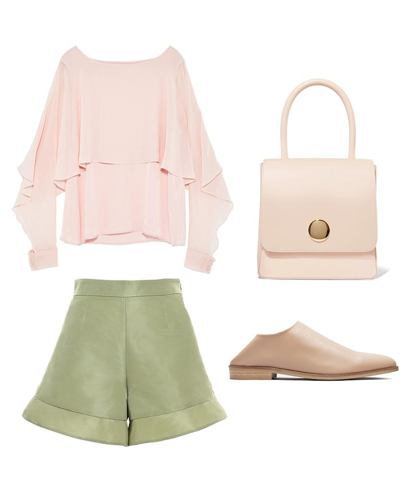 <p>While hunting for all of the Easter eggs hidden away, you need to make sure you are comfortable enough to look (or crawl) in the most squirrely of locations. That's why we suggest opting for shorts foremost, but having them in a minty green shade is just an added plus. Pair them with a ruffly pastel pink blouse, comfortable babouche flats, and a large top-handle bag (to fill up with eggs, of course). </p>