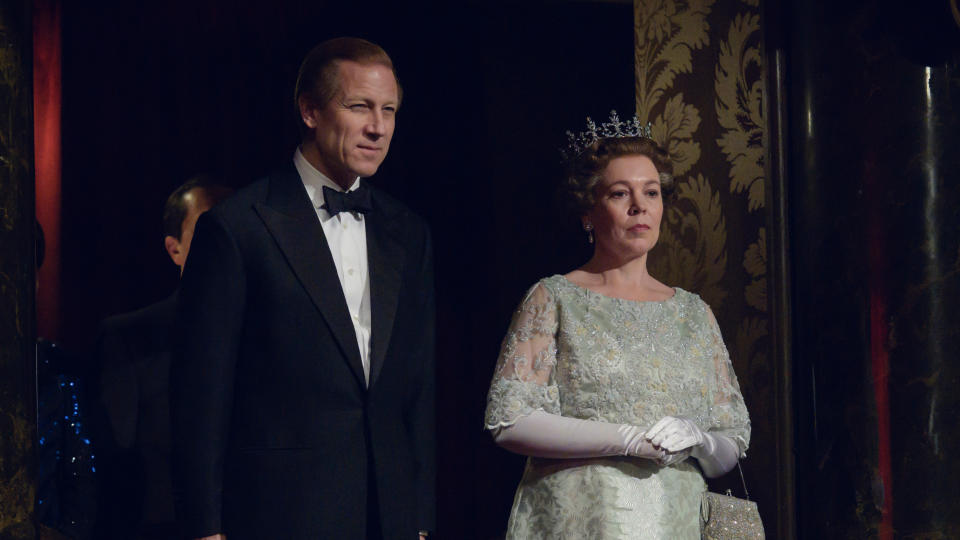 Tobias Menzies and Olivia Colman in the fourth series of 'The Crown'. (Credit: Alex Bailey/Netflix)