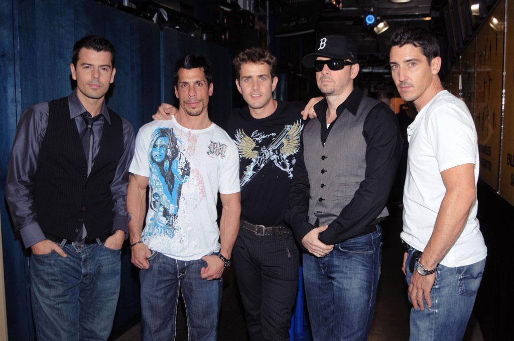"The New Kids on the Block -- Jordan Knight, Danny Wood, Joey McIntyre, Donnie Wahlberg, and Jonathan Knight -- promoted ""The Block"" on ""TRL"" Tuesday. Their new album is expected to sell over 100,000 copies. They still got the right stuff! George Napolitano/<a href=""http://www.filmmagic.com/"" target=""new"">FilmMagic.com</a> - September 2, 2008"