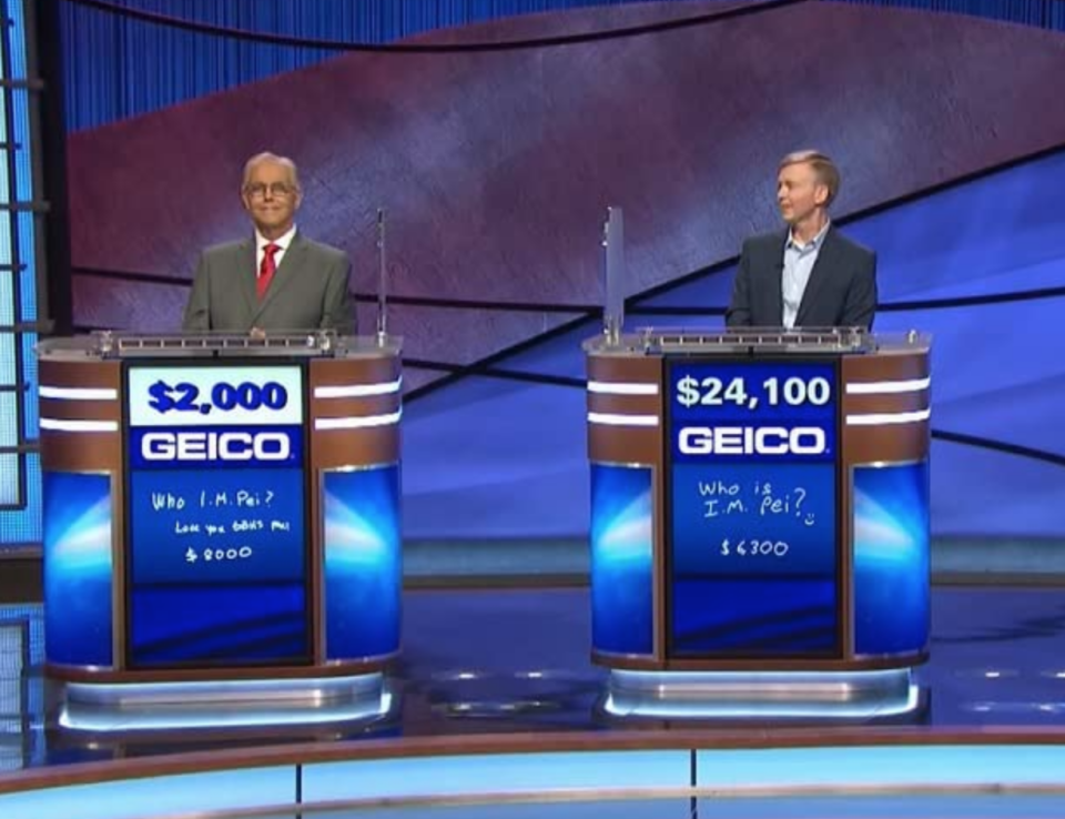"""<p>If you're the champion of your episode, congrats! Only the champion moves on to the next taping, which could film that very same day. The <a href=""""https://www.jeopardy.com/jbuzz/cast-crew/day-life-alex-trebek-tape-day"""" rel=""""nofollow noopener"""" target=""""_blank"""" data-ylk=""""slk:show tapes five episodes"""" class=""""link rapid-noclick-resp"""">show tapes five episodes</a> per day — a.k.a. enough to air for a whole week.</p>"""