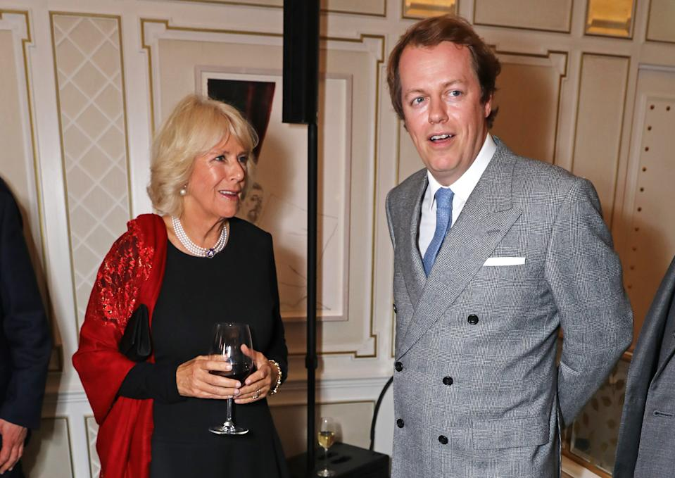 "LONDON, ENGLAND - OCTOBER 18:  Camilla, Duchess of Cornwall, and son Tom Parker Bowles attend the launch of ""Fortnum & Mason: The Cook Book"" by Tom Parker Bowles at Fortnum & Mason on October 18, 2016 in London, England.  (Photo by David M. Benett/Dave Benett/Getty Images for Fortnum and Mason)"