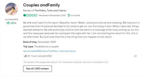 The now-deleted reviewTripAdvisor