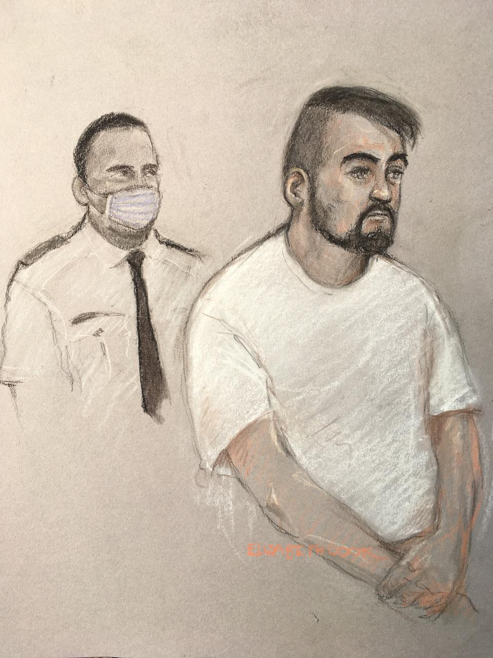 A court artist's sketch of Andrew Banks, right, who pleaded guilty to outraging public decency (PA)