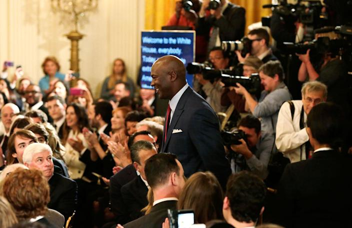 <p>Former NBA star Michael Jordan arrives at a ceremony awarding the Presidential Medal of Freedom to various recipients in the East Room of the White House, Nov. 22, 2016. (Carlos Barria/Reuters) </p>