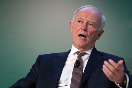 FILE PHOTO: Emirates Airline President Tim Clark speaks at the Arabian Travel Market in Dubai
