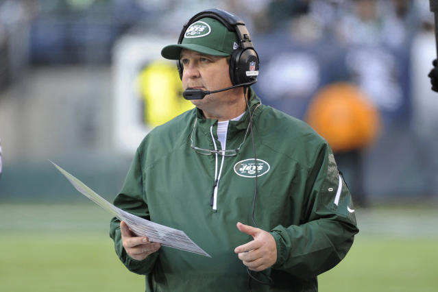 FILE - In this Dec. 1, 2013, file photo, New York Jets offensive coordinator Marty Mornhinweg looks on from the sideline during the second half of an NFL football game against the Miami Dolphins in East Rutherford, N.J. Marty Mornhinweg's offense has had a rough start to training camp for the New York Jets. The offensive coordinator, in his second season with the Jets, is trying to get a group that appears much-improved from last year with the additions of Eric Decker and Chris Johnson through some early growing pains, Thursday, July 31, 2014. (AP Photo/Bill Kostroun, File)