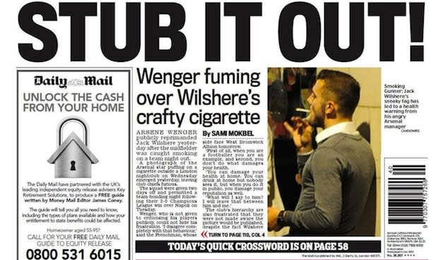 Jack Wilshere can't let it all go up in smoke - Matt ... |Jack Wilshere Smoking
