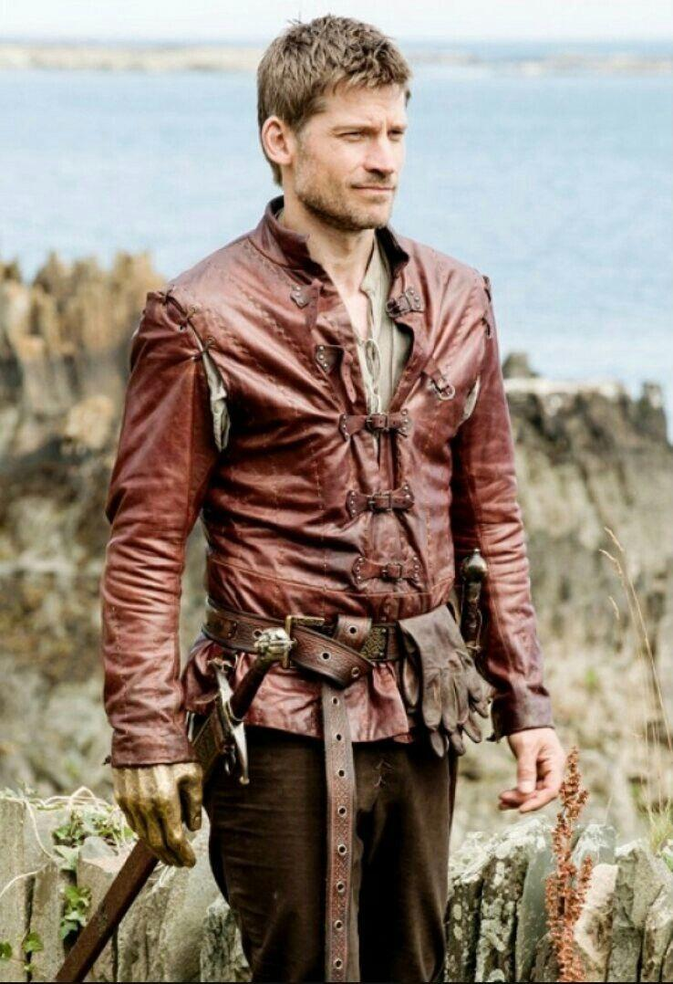 """<p>Though he was far from an admirable character in season 1, Jamie Lannister made up for some of his mistakes by the end of season 8. His character arc was pretty great, and your costume can be great too. </p><p><a class=""""link rapid-noclick-resp"""" href=""""https://www.amazon.com/dp/B00EC0ZQDU/?tag=syn-yahoo-20&ascsubtag=%5Bartid%7C10070.g.28762544%5Bsrc%7Cyahoo-us"""" rel=""""nofollow noopener"""" target=""""_blank"""" data-ylk=""""slk:SHOP RED FAUX LEATHER JACKET"""">SHOP RED FAUX LEATHER JACKET</a> </p>"""