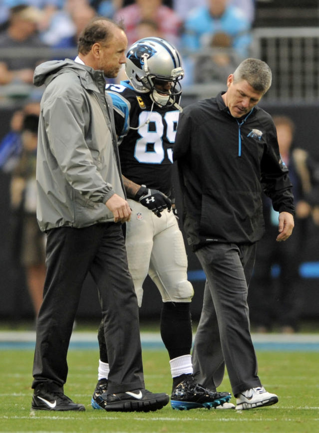 Carolina Panthers' Steve Smith (89) is helped off the field after being injured in the first half of an NFL football game against the New Orleans Saints in Charlotte, N.C., Sunday, Dec. 22, 2013. (AP Photo/Mike McCarn)