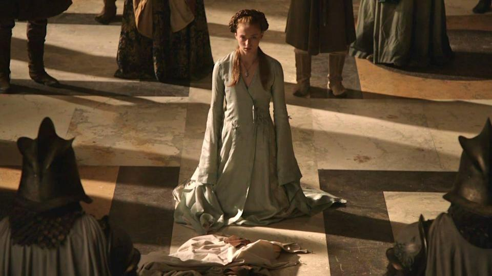 <p>When things start to get dire for Sansa and her family, her fashion starts to reflect her desire to hide. The loose-fitting gowns and giant sleeves that seem to swallow her up are all in line with Sansa's desire to become invisible at court. </p>