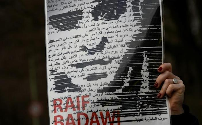 """Saudi blogger Raif Badawi was sentenced in 2014 to 10 years in prison and 1,000 lashes for """"insulting Islam"""" (AFP Photo/TOBIAS SCHWARZ )"""