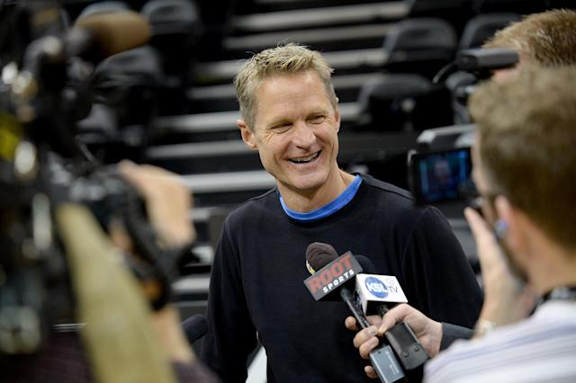 SALT LAKE CITY, UT - JANUARY 13: Steve Kerr of the Golden State Warriors talks to media before the game against the Utah Jazz on January 13, 2015 in Salt Lake City, Utah. (Photo by Noah Graham/NBAE via Getty Images)