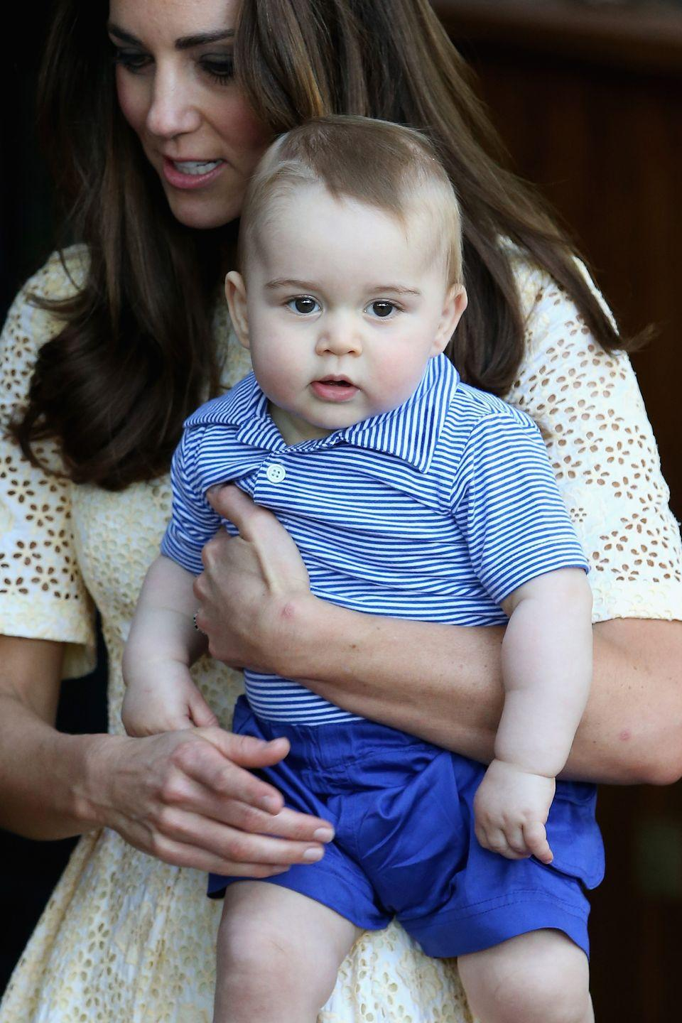 <p>The Duchess of Cambridge holds Prince George as they visit the Taronga Zoo in Sydney, Australia.</p>