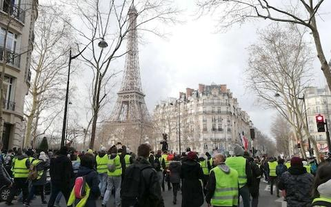 Participants in a yellow vest movement rally in Paris on February 9 - Credit: TASS / Barcroft Media