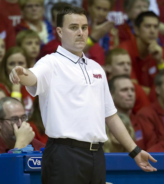 Dayton head coach Archie Miller head coach Archie Miller directs his team while playing against Gonzaga in the first half of an NCAA college basketball game at the Maui Invitational on Monday, Nov. 25, 2013, in Lahaina, Hawaii. (AP Photo/Eugene Tanner)