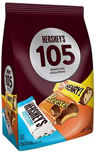 HERSHEY'S 105ct Assorted Bulk Chocolate Bars - 1.5kg - Halloween Candy - Includes Reese, OH Henry! & HERSHEY'S Cookies 'n' Crème White Chocolate, Snack Sized Candy