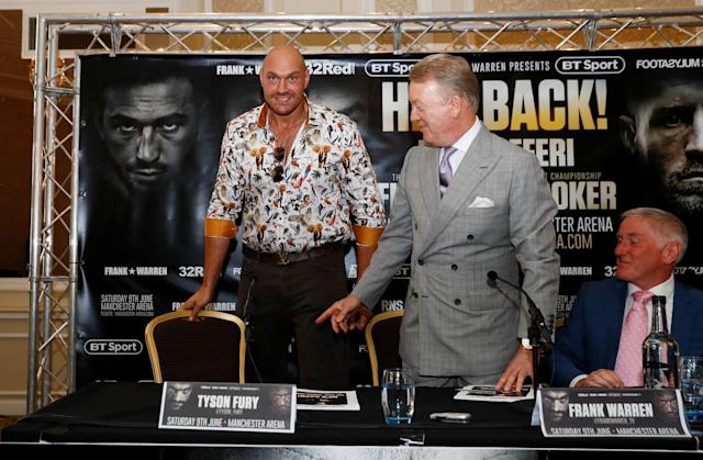 Boxing - Tyson Fury & Sefer Seferi Press Conference - The Midland Hotel, Manchester, Britain - June 6, 2018 Tyson Fury and promoter Frank Warren during the press conference Action Images via Reuters/Jason Cairnduff