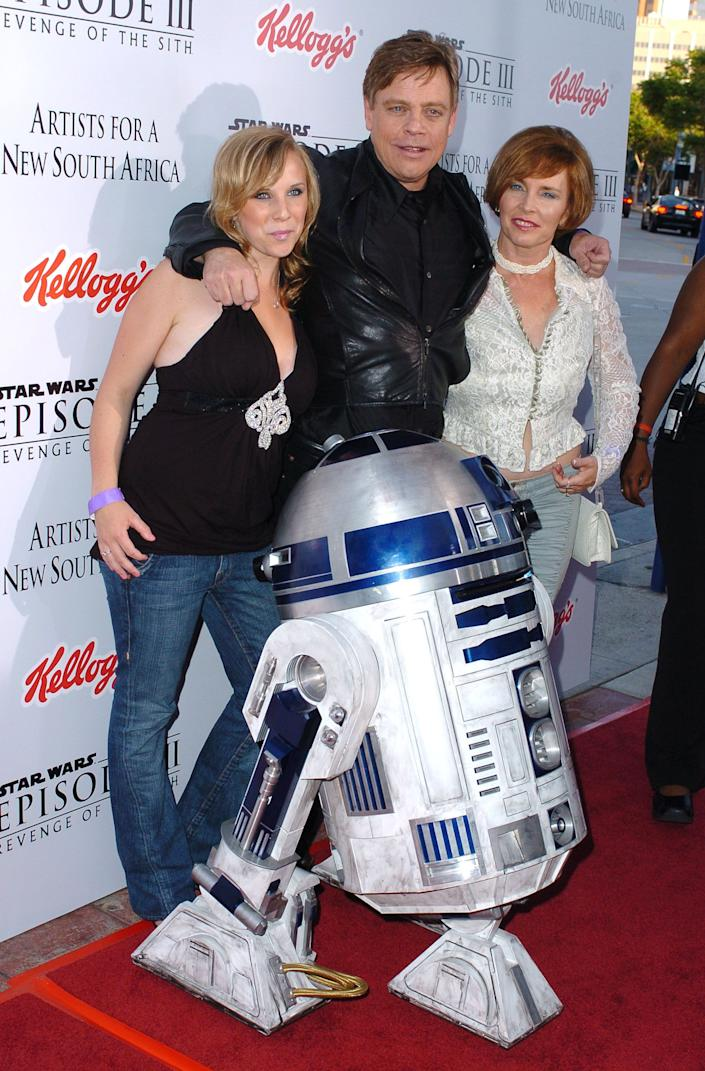 """R2D2, Marilou York and Mark Hamill during """"Star Wars: Episode III - Revenge of The Sith"""" Premiere to Benefit Artists for a New South Africa Charity - Arrivals at Mann's Village Theater in Westwood, CA, United States."""